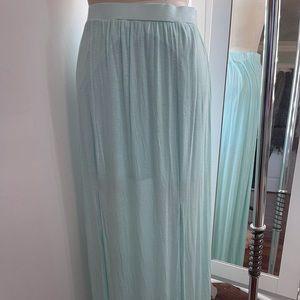 Abercrombie & Fitch Mint Green Maxi Slit Skirt L